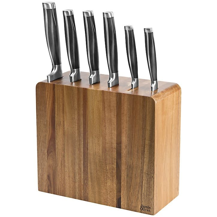 Jamie Oliver Acacia Knife Block, 6 Piece Set, £174.99.