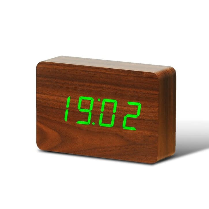 Gingko Brick Walnut Click Clock/Green LED, £45.99.