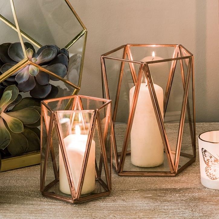 Graham & Green Copper Triangular Tea Light Holder, Large - £20.00.